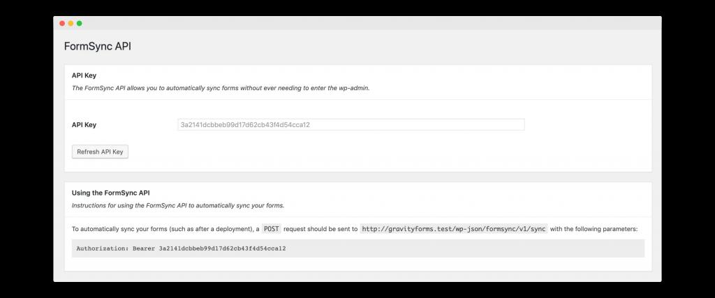 FormSync API Settings
