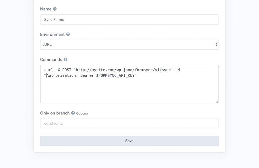 Use BranchCI to Trigger FormSync API